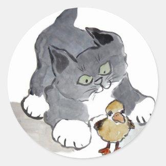 Gatito Ducky y gris de Lil Pegatina Redonda