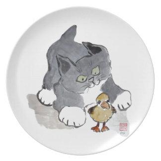Gatito Ducky y gris de Lil Platos De Comidas