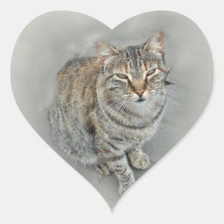(Gatito dulce Pegatina En Forma De Corazón