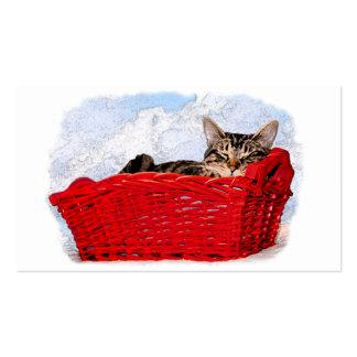Gatito el dormir en cesta roja brillante tarjetas de visita