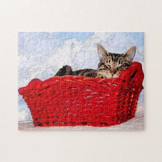 Gatito el dormir en fotografía roja brillante de l rompecabeza con fotos