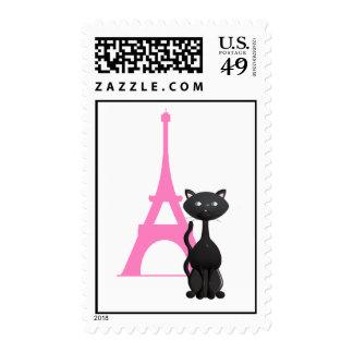 Gatito el vacaciones en el sello de París