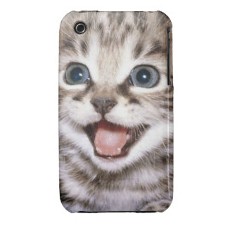 Gatito emocionado del Tabby lindo iPhone 3 Cárcasas