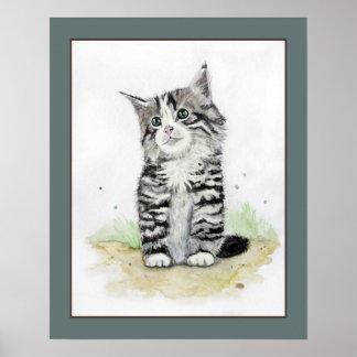 Gatito en acuarela. Arte del cuarto de niños del Póster