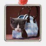 Gatito en bolso adorno navideño cuadrado de metal