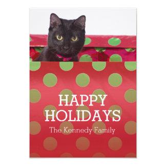 """Gatito en caja de regalo invitación 5"""" x 7"""""""