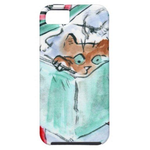 Gatito en caja destrozada del regalo de Navidad iPhone 5 Case-Mate Coberturas