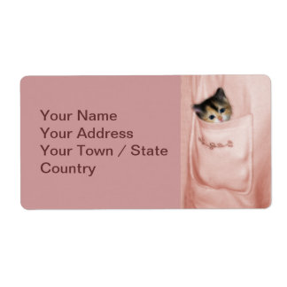 Gatito en el bolsillo 2 etiqueta de envío