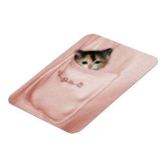Gatito en el bolsillo 2 iman rectangular