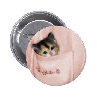 Gatito en el bolsillo 2 pin redondo de 2 pulgadas