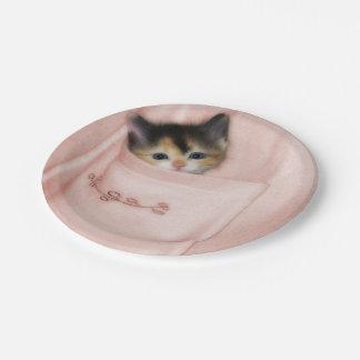Gatito en el bolsillo 2 plato de papel de 7 pulgadas