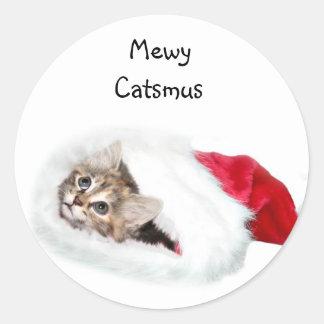 Gatito en el gorra de Santa Etiqueta