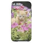 Gatito en flores funda para iPhone 6 tough