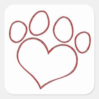 Gatito en forma de corazón del perrito del gato de pegatinas cuadradases