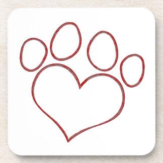 Gatito en forma de corazón del perrito del gato de posavasos de bebida