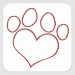Gatito en forma de corazón del perrito del gato pegatinas cuadradases