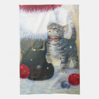 Gatito en la bota de Santa Toalla De Cocina