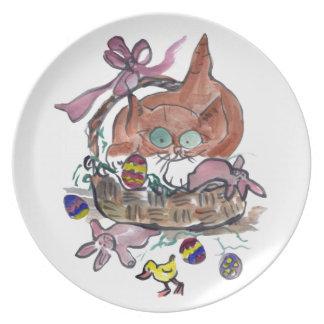 Gatito en la cesta de Pascua Platos