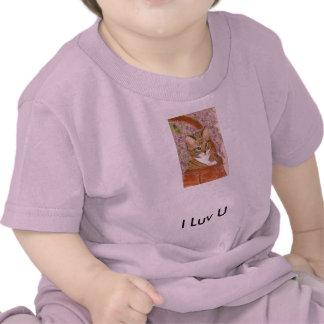 Gatito en la cesta - I Luv U - camiseta del bebé