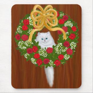 Gatito en la guirnalda Mousepad del día de fiesta