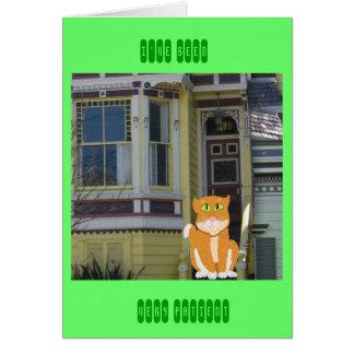 Gatito en los pasos tarjeta de felicitación