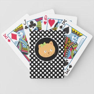 Gatito en lunares blancos y negros baraja de cartas