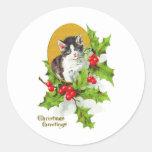 Gatito en pegatinas del navidad del vintage del pegatinas redondas