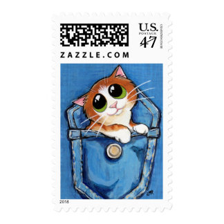 Gatito en un bolsillo - franqueo del jengibre del estampillas