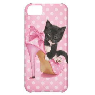 Gatito en zapato rosado funda para iPhone 5C