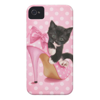 Gatito en zapato rosado iPhone 4 Case-Mate cobertura