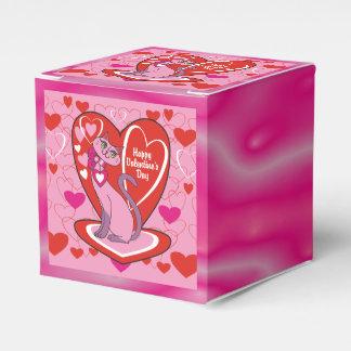 Gatito feliz del rosa del el día de San Valentín Caja Para Regalo De Boda