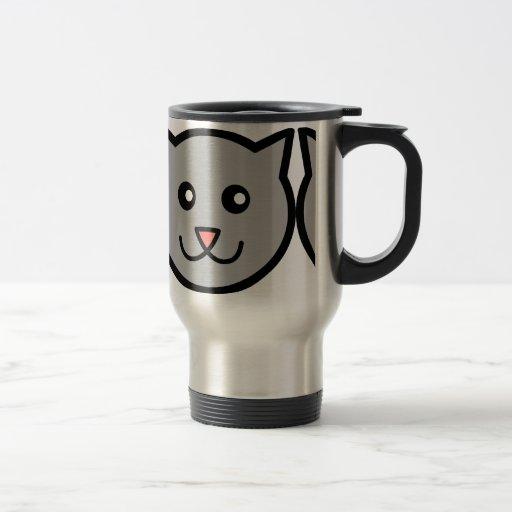 Gatito feliz taza de viaje de acero inoxidable