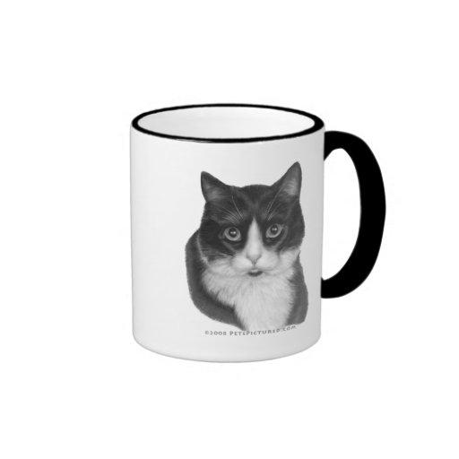 Gatito G., gato blanco y negro Taza De Café