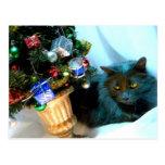 Gatito gris del navidad V Postales