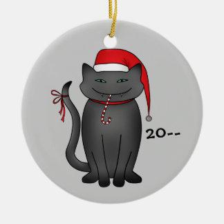 Gatito gris divertido del navidad adorno navideño redondo de cerámica