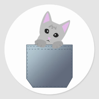 Gatito gris en un ejemplo del bolsillo del dril de pegatina redonda