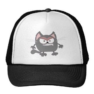 Gatito gris enojado gordo gorros bordados