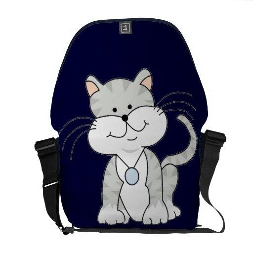 Gatito gris feliz bolsas de mensajería