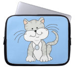 Gatito gris feliz mangas portátiles