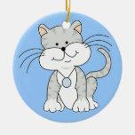 Gatito gris feliz ornamentos para reyes magos