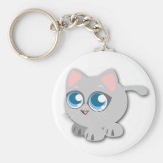 Gatito gris gordo lindo llavero redondo tipo pin
