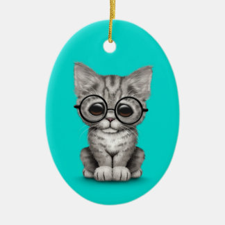 Gatito gris lindo del Tabby con los vidrios del oj Ornato