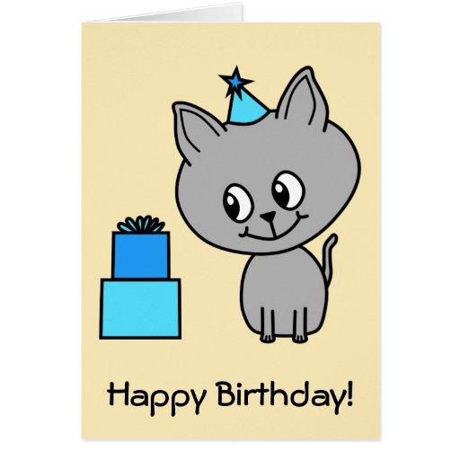 Gatito gris lindo en un sombrero azul del cumpleañ tarjeta de felicitación