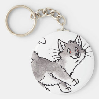 Gatito gris y blanco llaveros