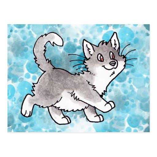 Gatito gris y blanco postal