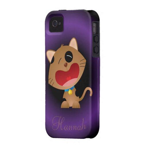 Gatito gritador lindo del dibujo animado personali vibe iPhone 4 funda