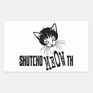 Gatito grosero - cierre su boca pegatina rectangular