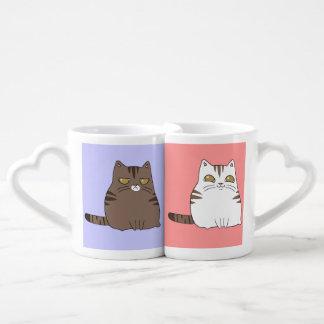 Gatito gruñón y feliz personalizado set de tazas de café