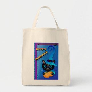 Gatito Halloween-Azul feliz de la bruja Bolsa Tela Para La Compra