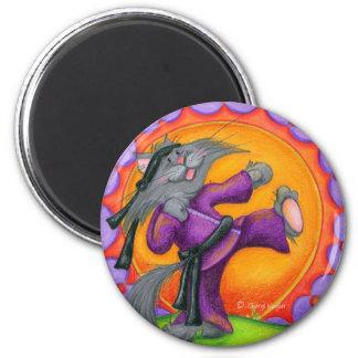 Gatito/imán de Kung Fu Imán Redondo 5 Cm